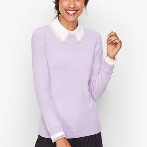 Talbots Lace Collar Sweater Size Petite Large NWT